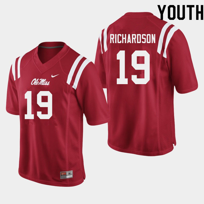 Youth #19 Jamar Richardson Ole Miss Rebels College Football Jerseys Sale-Red