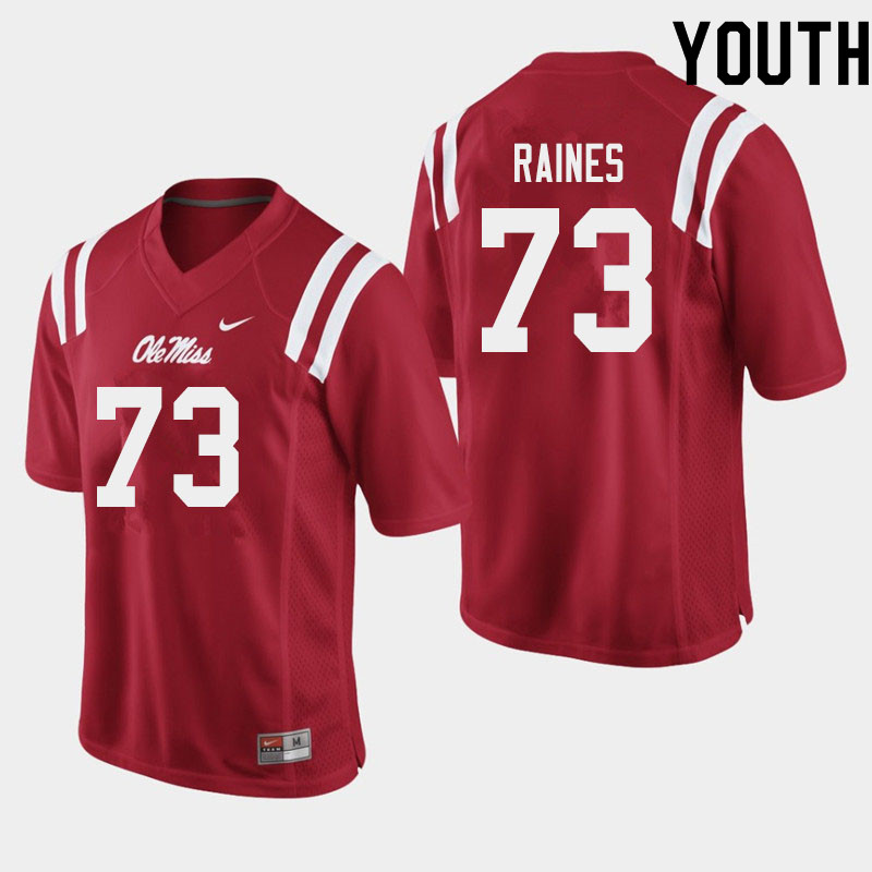Youth #73 John Raines Ole Miss Rebels College Football Jerseys Sale-Red