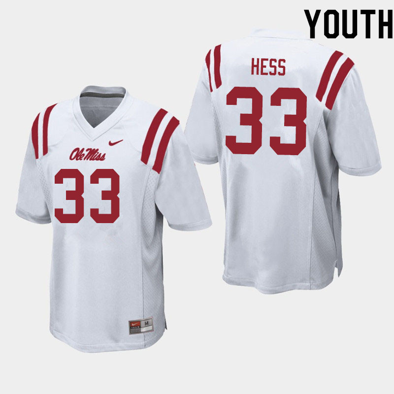 Youth #33 Jonathan Hess Ole Miss Rebels College Football Jerseys Sale-White