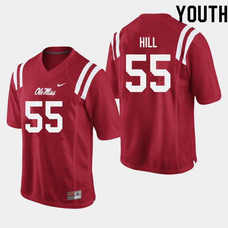 Youth #55 KD Hill Ole Miss Rebels College Football Jerseys Sale-Red