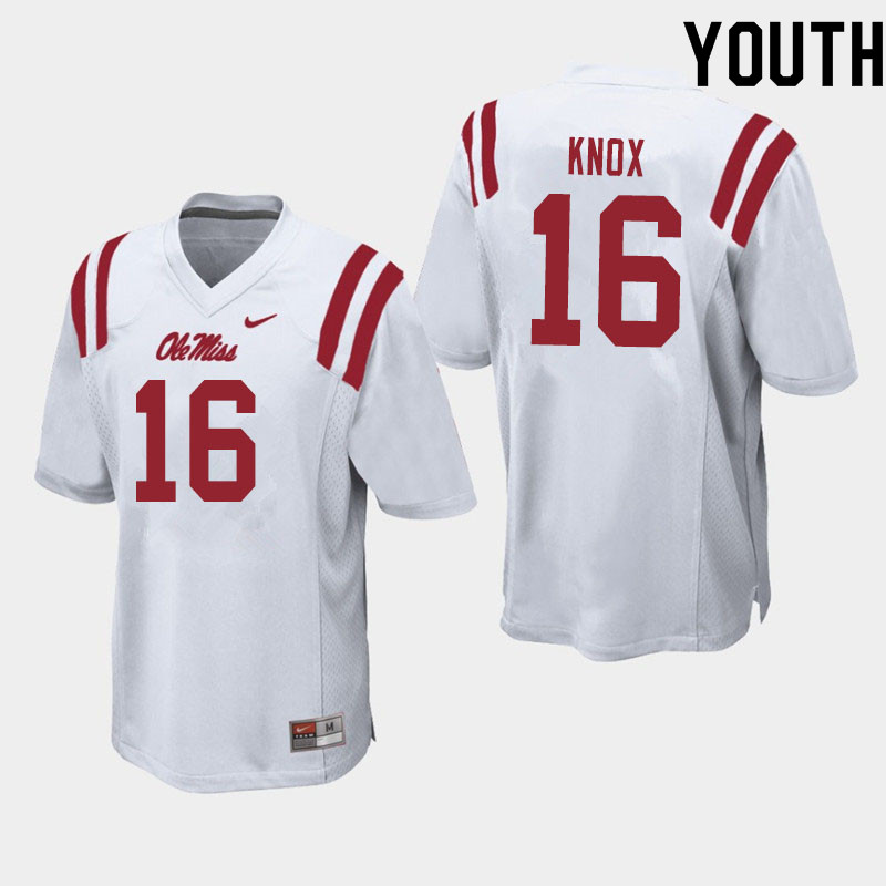Youth #16 Luke Knox Ole Miss Rebels College Football Jerseys Sale-White