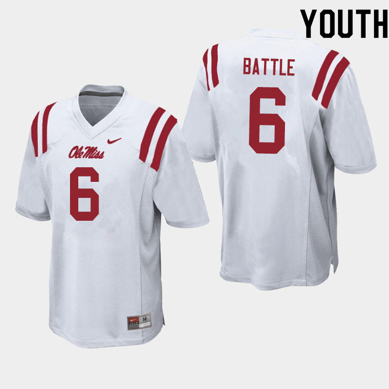 Youth #6 Miles Battle Ole Miss Rebels College Football Jerseys Sale-White