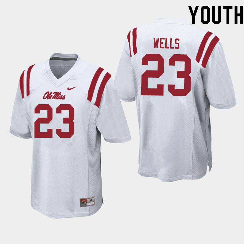 Youth #23 Nevin Wells Ole Miss Rebels College Football Jerseys Sale-White