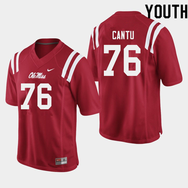 Youth #76 Nic Cantu Ole Miss Rebels College Football Jerseys Sale-Red