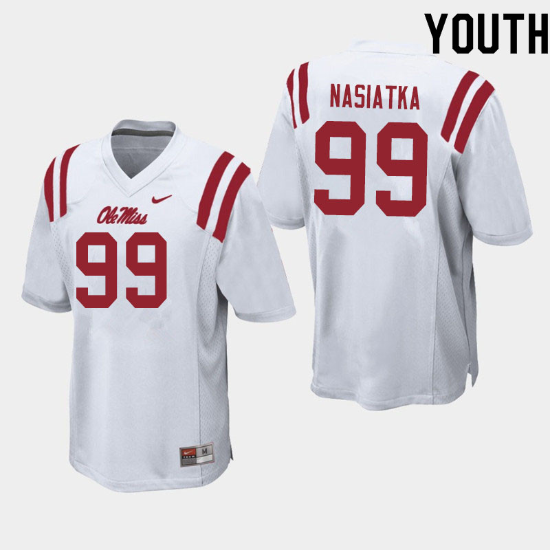 Youth #99 Patrick Nasiatka Ole Miss Rebels College Football Jerseys Sale-White