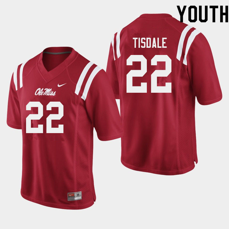 Youth #22 Tariqious Tisdale Ole Miss Rebels College Football Jerseys Sale-Red