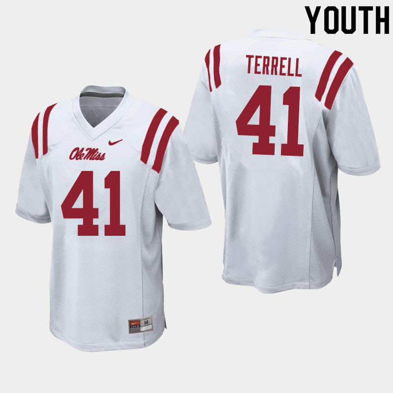 Youth #41 CJ Terrell Ole Miss Rebels College Football Jerseys Sale-White