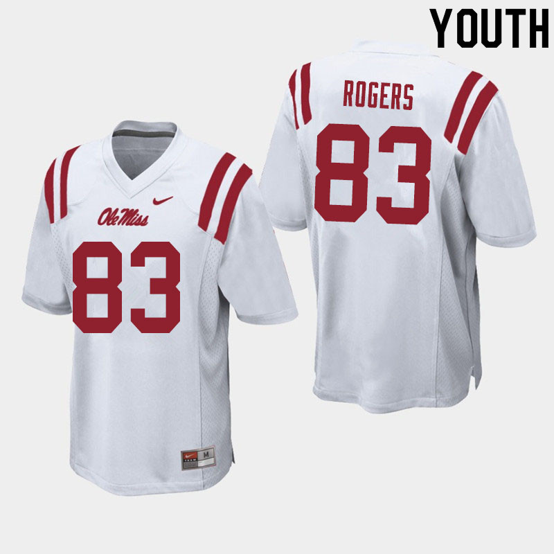 Youth #83 Chase Rogers Ole Miss Rebels College Football Jerseys Sale-White