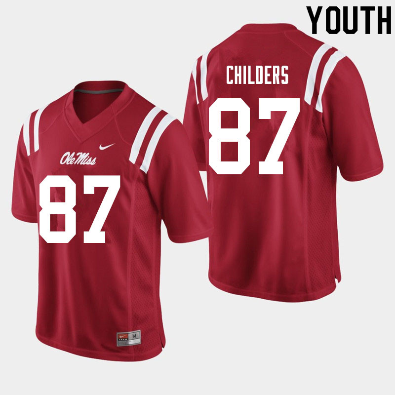 Youth #87 Garrett Childers Ole Miss Rebels College Football Jerseys Sale-Red