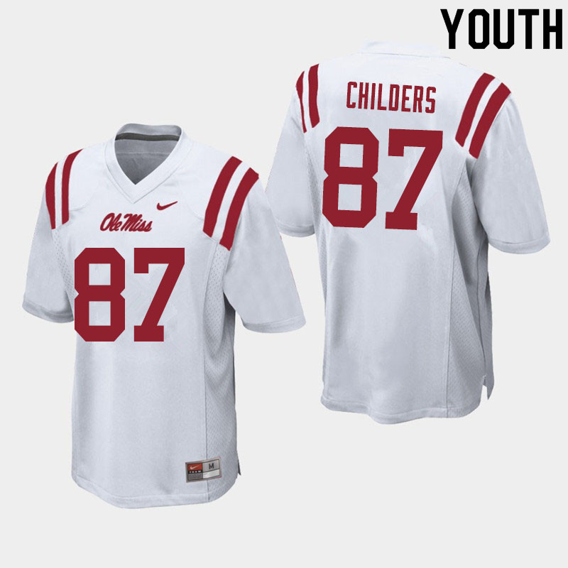 Youth #87 Garrett Childers Ole Miss Rebels College Football Jerseys Sale-White