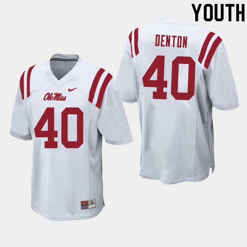 Youth #40 Jalen Denton Ole Miss Rebels College Football Jerseys Sale-White