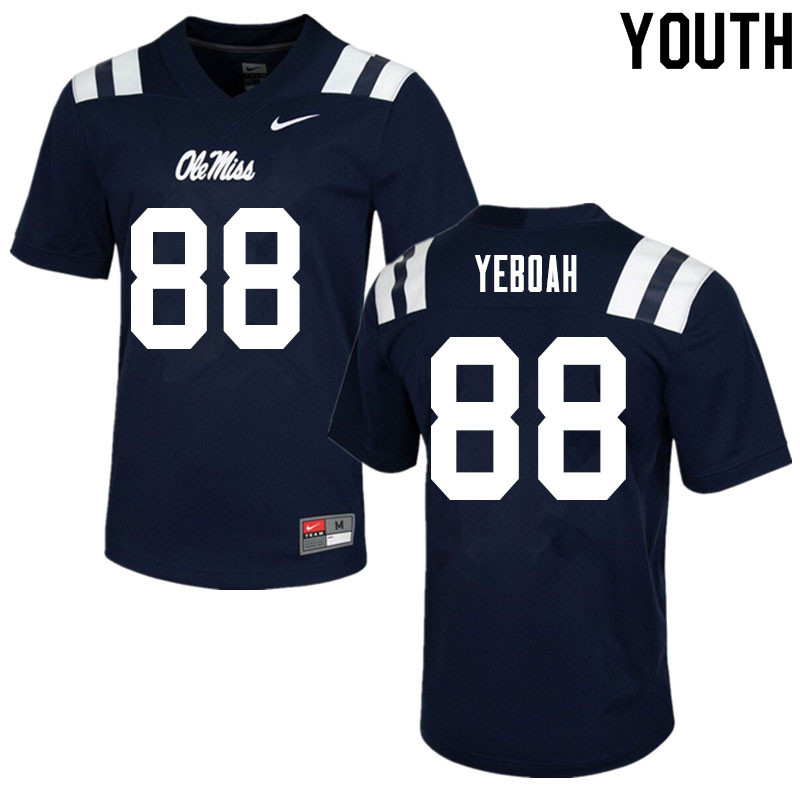 Youth #88 Kenny Yeboah Ole Miss Rebels College Football Jerseys Sale-Navy