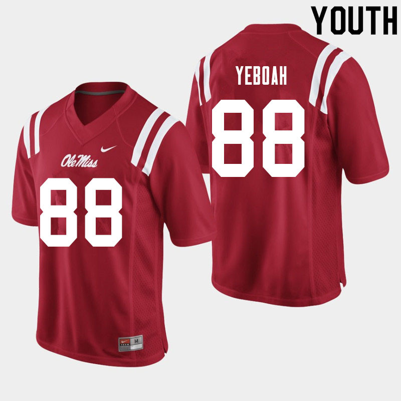 Youth #88 Kenny Yeboah Ole Miss Rebels College Football Jerseys Sale-Red