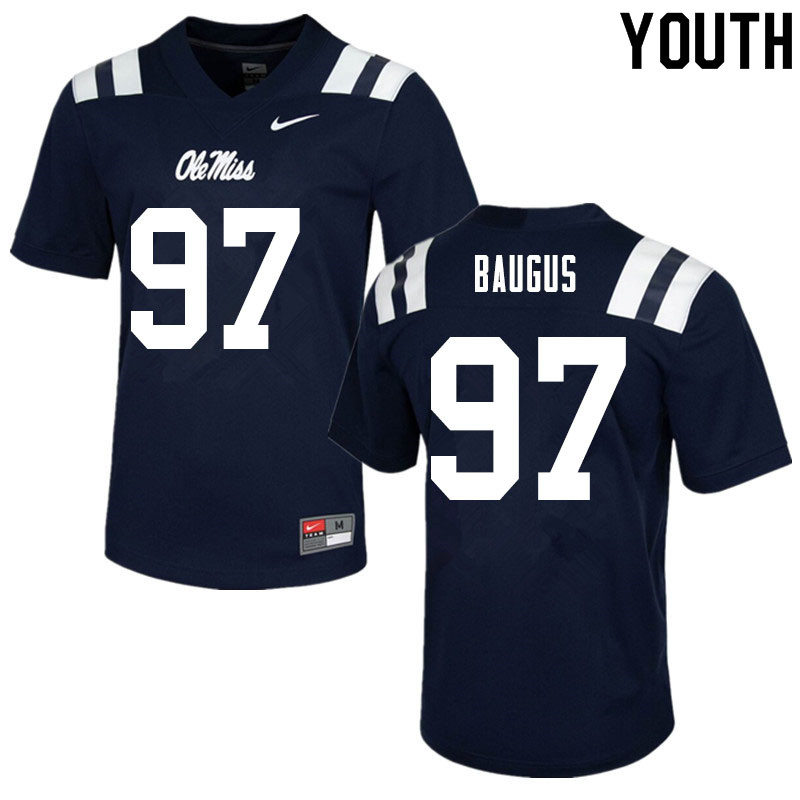 Youth #97 Michael Baugus Ole Miss Rebels College Football Jerseys Sale-Navy