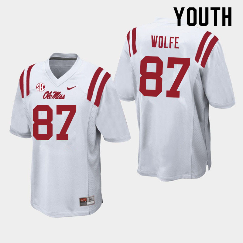 Youth #87 Hudson Wolfe Ole Miss Rebels College Football Jerseys Sale-White