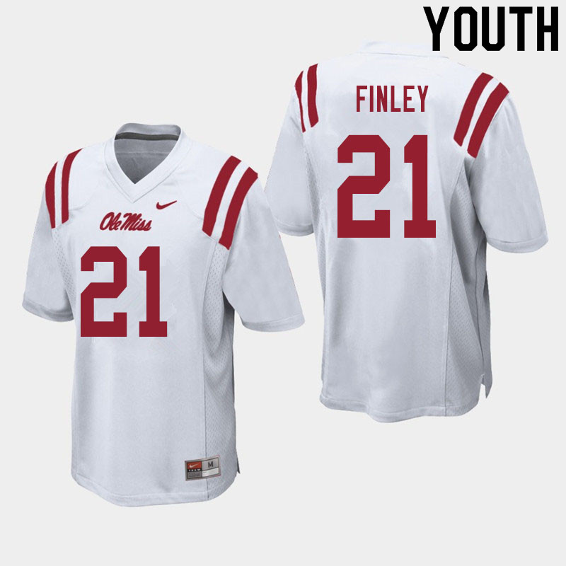 Youth #21 A.J. Finley Ole Miss Rebels College Football Jerseys Sale-White