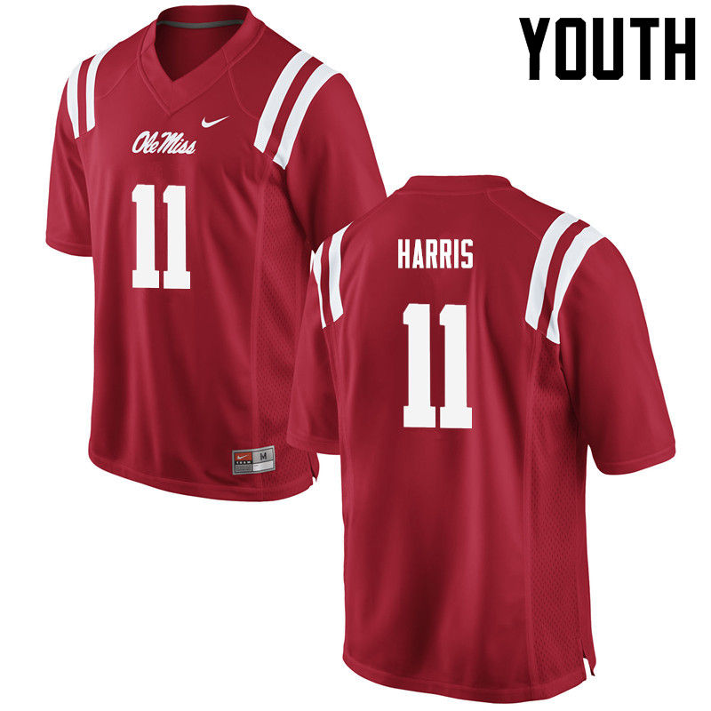 Youth Ole Miss Rebels #11 A.J. Harris College Football Jerseys-Red