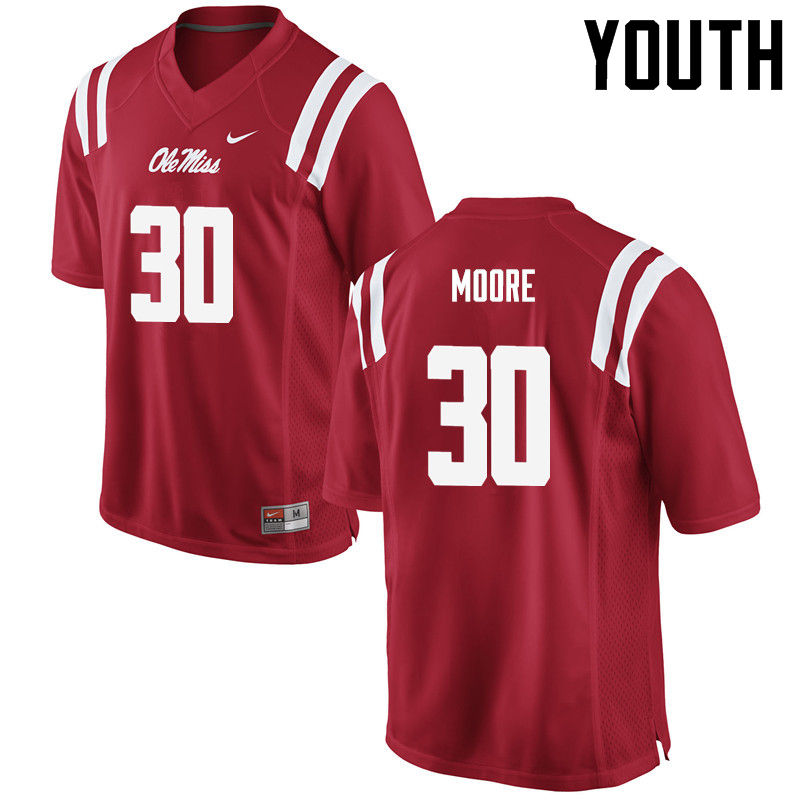 Youth Ole Miss Rebels #30 A.J. Moore College Football Jerseys-Red