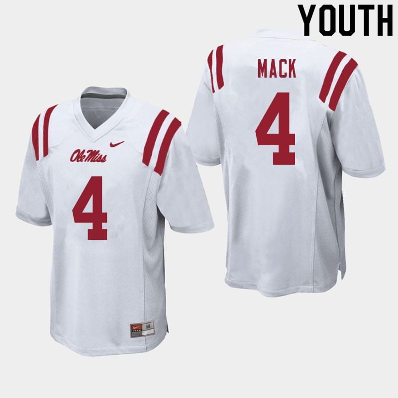 Youth #4 Brandon Mack Ole Miss Rebels College Football Jerseys Sale-White
