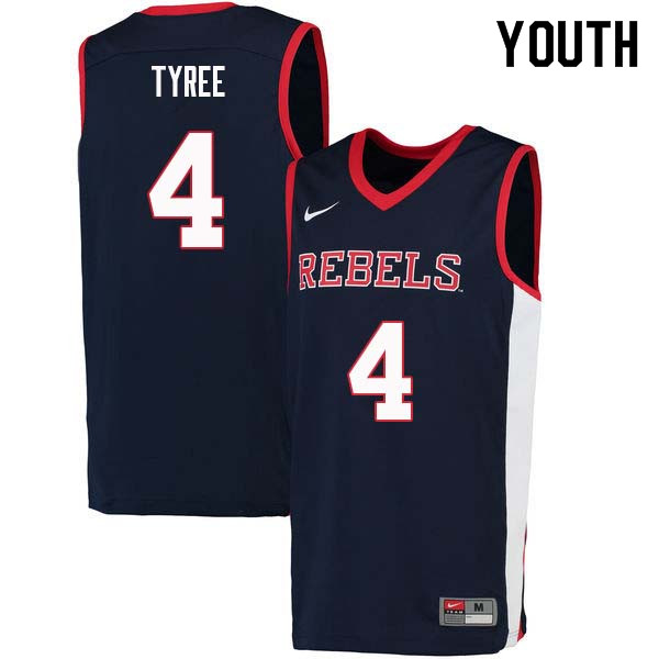 Youth #4 Breein Tyree Ole Miss Rebels College Basketball Jerseys Sale-Navy