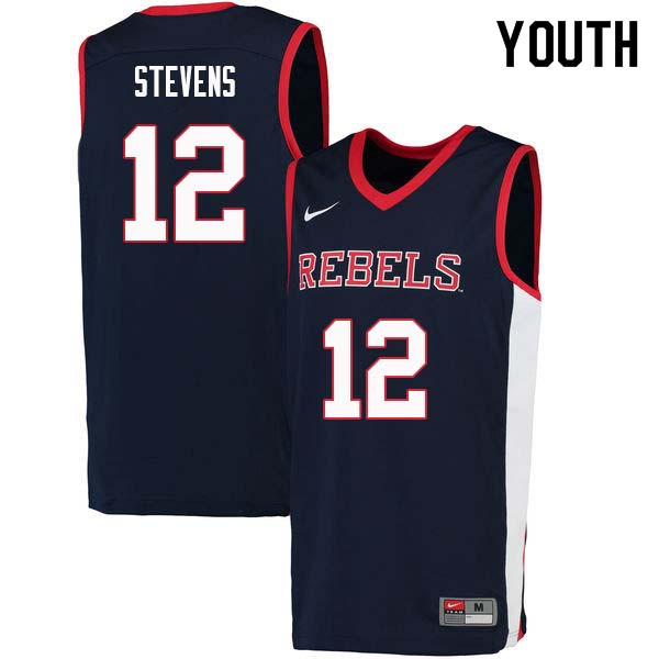 Youth #12 Bruce Stevens Ole Miss Rebels College Basketball Jerseys Sale-Navy