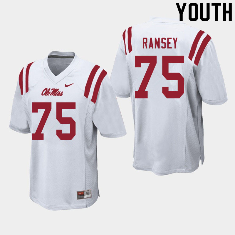 Youth #75 Bryce Ramsey Ole Miss Rebels College Football Jerseys Sale-White