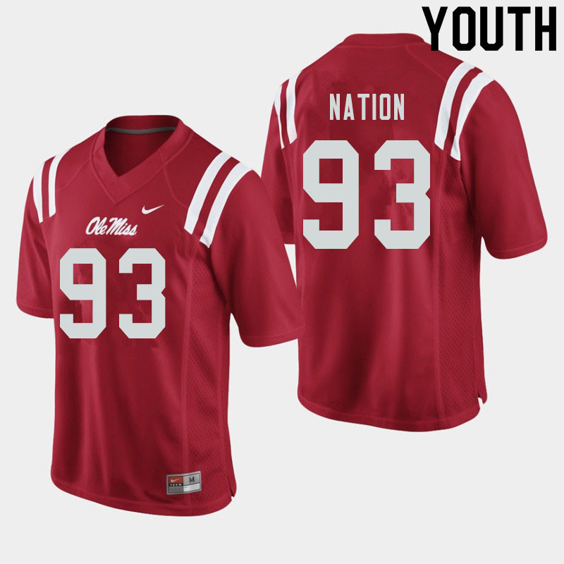 Youth #93 Cale Nation Ole Miss Rebels College Football Jerseys Sale-Red