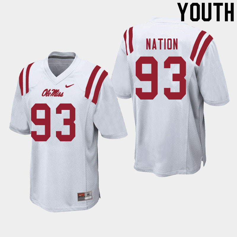 Youth #93 Cale Nation Ole Miss Rebels College Football Jerseys Sale-White