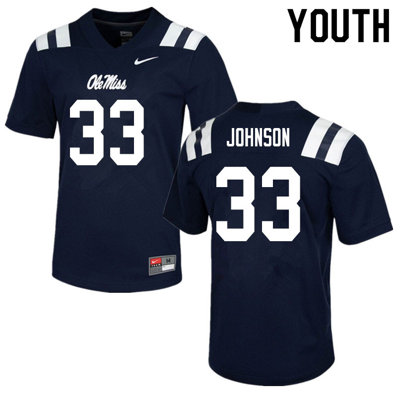 Youth #33 Cedric Johnson Ole Miss Rebels College Football Jerseys Sale-Navy