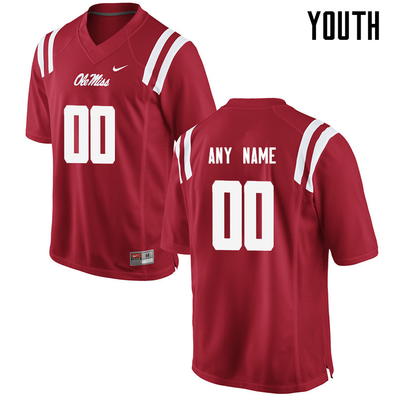 Customs Ole Miss Rebels Youth College Football Jerseys-Red