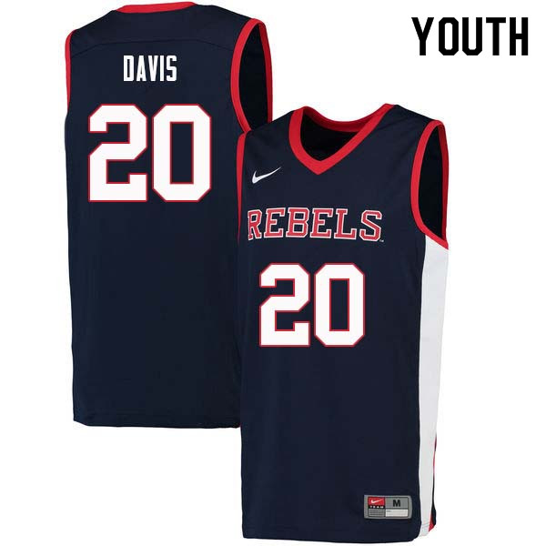 Youth #20 D.C. Davis Ole Miss Rebels College Basketball Jerseys Sale-Navy