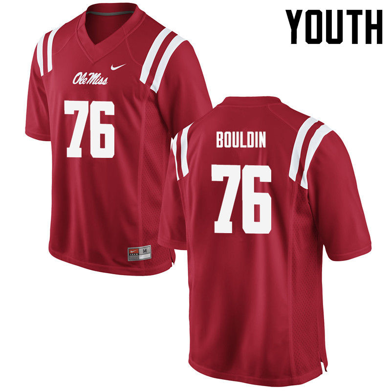 Youth Ole Miss Rebels #76 Daronte Bouldin College Football Jerseys-Red