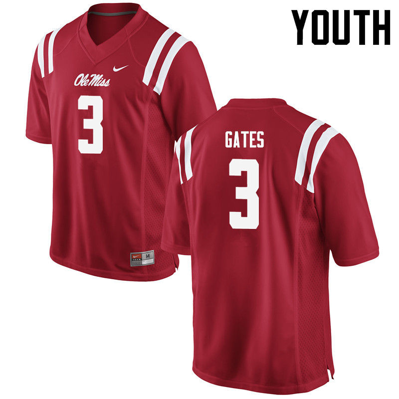 Youth Ole Miss Rebels #3 DeMarquis Gates College Football Jerseys-Red