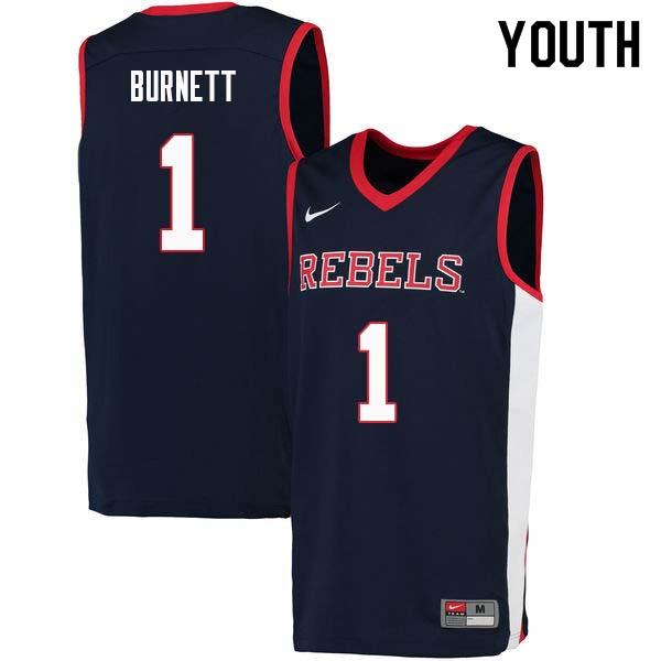 Youth #1 Deandre Burnett Ole Miss Rebels College Basketball Jerseys Sale-Navy
