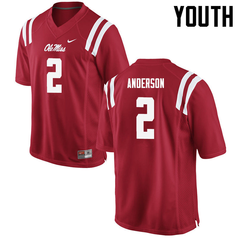 Youth Ole Miss Rebels #2 Deontay Anderson College Football Jerseys-Red