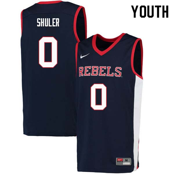 Youth #0 Devontae Shuler Ole Miss Rebels College Basketball Jerseys Sale-Navy
