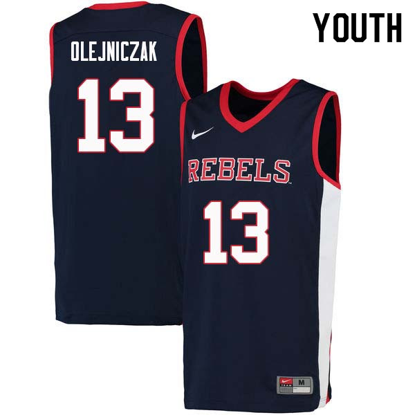 Youth #13 Dominik Olejniczak Ole Miss Rebels College Basketball Jerseys Sale-Navy