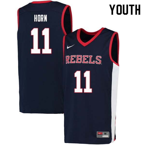 Youth #11 Eric Horn Ole Miss Rebels College Basketball Jerseys Sale-Navy