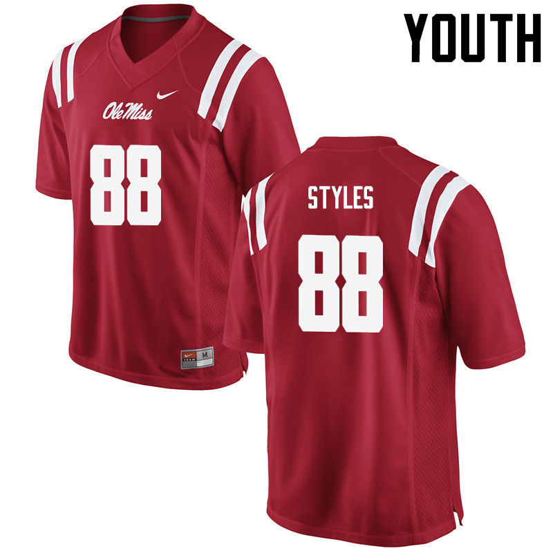 Youth Ole Miss Rebels #88 Garrett Styles College Football Jerseys-Red