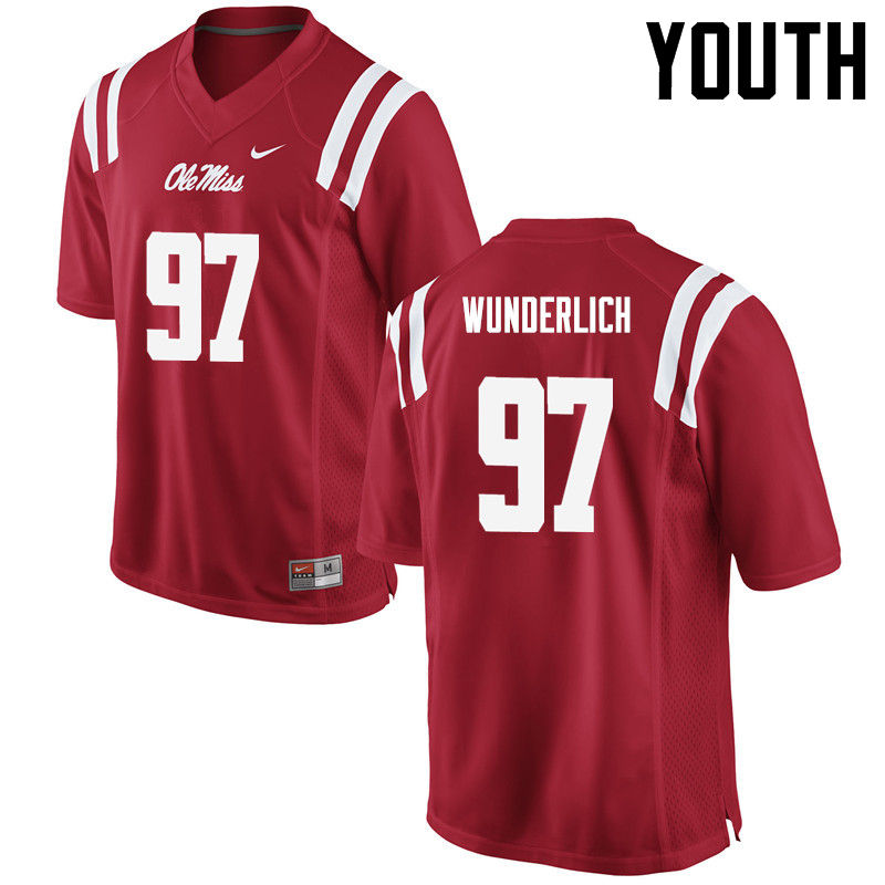 Youth Ole Miss Rebels #97 Gary Wunderlich College Football Jerseys-Red