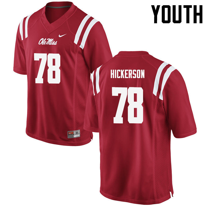 Youth Ole Miss Rebels #78 Gene Hickerson College Football Jerseys-Red