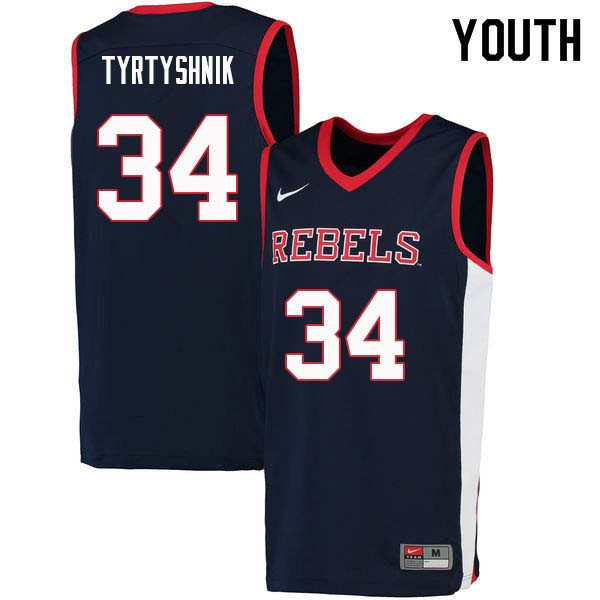 Youth #34 Ilya Tyrtyshnik Ole Miss Rebels College Basketball Jerseys Sale-Navy