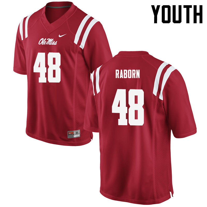 Youth Ole Miss Rebels #48 Jack Raborn College Football Jerseys-Red