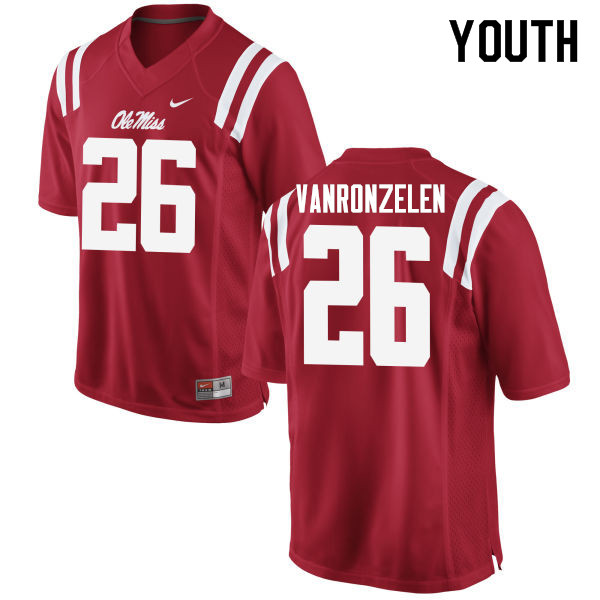 Youth #26 Jake VanRonzelen Ole Miss Rebels College Football Jerseys Sale-Red