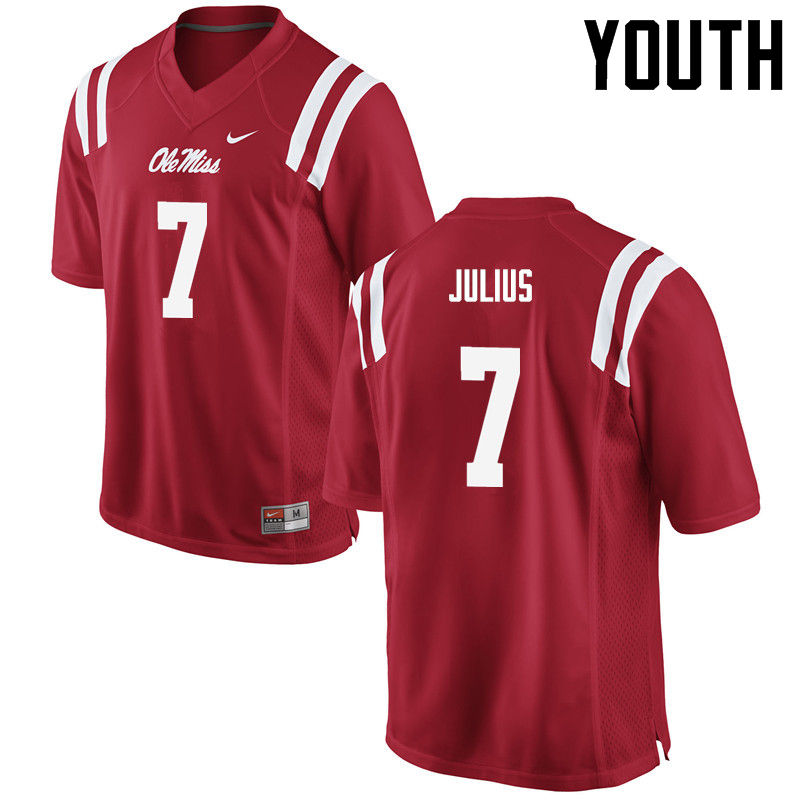 Youth Ole Miss Rebels #7 Jalen Julius College Football Jerseys-Red
