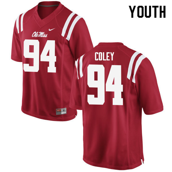 Youth #94 James Coley Ole Miss Rebels College Football Jerseys Sale-Red