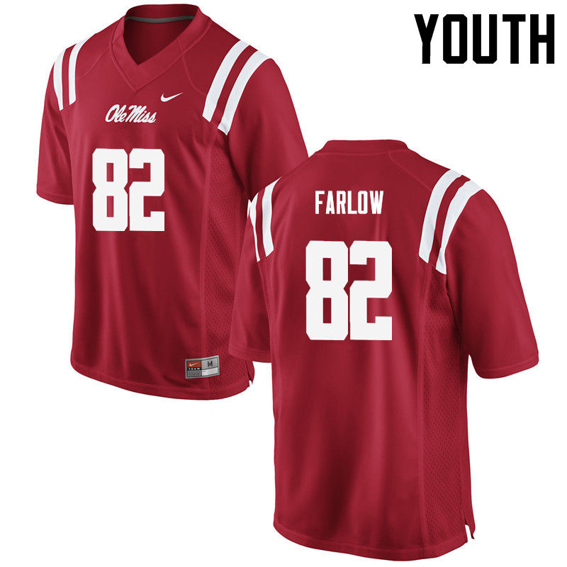 Youth Ole Miss Rebels #82 Jared Farlow College Football Jerseys-Red