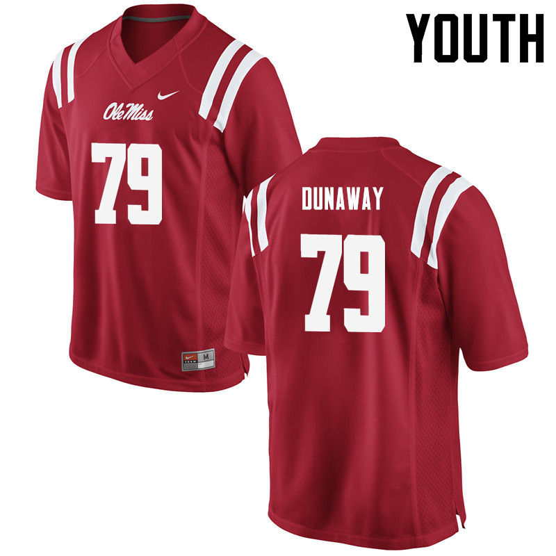 Youth Ole Miss Rebels #79 Jim Dunaway College Football Jerseys-Red