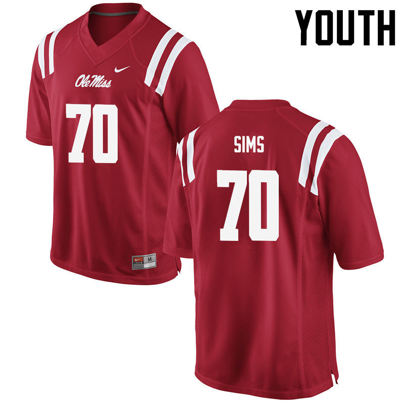 Youth Ole Miss Rebels #70 Jordan Sims College Football Jerseys-Red