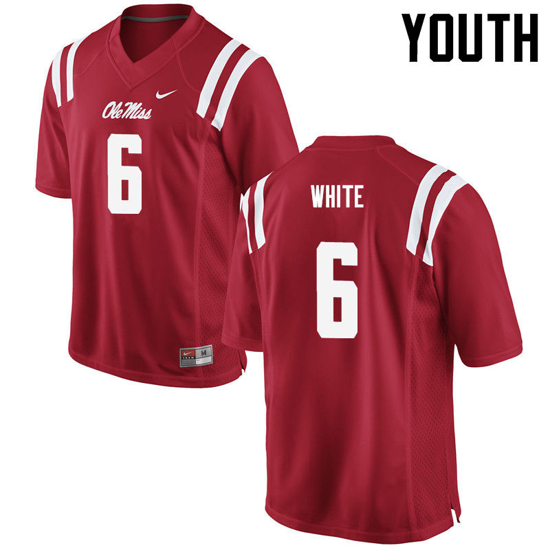 Youth Ole Miss Rebels #6 Kam White College Football Jerseys-Red